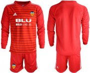 Wholesale Cheap Valencia Blank Red Goalkeeper Long Sleeves Soccer Club Jersey