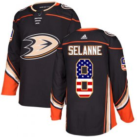 Wholesale Cheap Adidas Ducks #8 Teemu Selanne Black Home Authentic USA Flag Stitched NHL Jersey