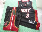 Wholesale Cheap Miami Heat 3 Dwyane Wade black swingman Basketball Suit