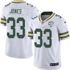Wholesale Cheap Nike Packers #33 Aaron Jones White Men\'s 100th Season Stitched NFL Vapor Untouchable Limited Jersey