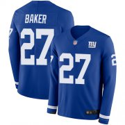 Wholesale Cheap Nike Giants #27 Deandre Baker Royal Blue Team Color Men's Stitched NFL Limited Therma Long Sleeve Jersey