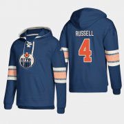 Wholesale Cheap Edmonton Oilers #4 Kris Russell Royal adidas Lace-Up Pullover Hoodie