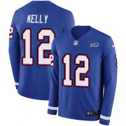 Wholesale Cheap Nike Bills #12 Jim Kelly Royal Blue Team Color Men's Stitched NFL Limited Therma Long Sleeve Jersey