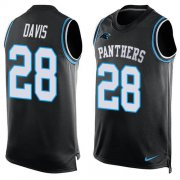 Wholesale Cheap Nike Panthers #28 Mike Davis Black Team Color Men's Stitched NFL Limited Tank Top Jersey
