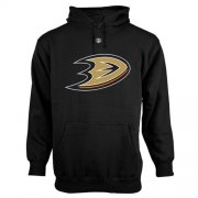 Wholesale Cheap Anaheim Ducks Old Time Hockey Big Logo with Crest Pullover Hoodie Black