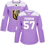 Wholesale Cheap Adidas Golden Knights #57 David Perron Purple Authentic Fights Cancer Women's Stitched NHL Jersey