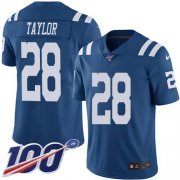 Wholesale Cheap Nike Colts #28 Jonathan Taylor Royal Blue Men's Stitched NFL Limited Rush 100th Season Jersey