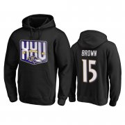 Wholesale Cheap Baltimore Ravens #15 Marquise Brown Men's Black Team 25th Season Pullover Hoodie