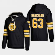 Wholesale Cheap Boston Bruins #63 Brad Marchand Black adidas Lace-Up Pullover Hoodie