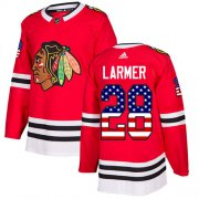 Wholesale Cheap Adidas Blackhawks #28 Steve Larmer Red Home Authentic USA Flag Stitched NHL Jersey
