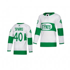 Wholesale Cheap Adidas Maple Leafs #40 Garret Sparks White 2019 St. Patrick\'s Day Authentic Player Stitched Youth NHL Jersey