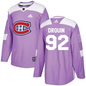 Wholesale Cheap Adidas Canadiens #92 Jonathan Drouin Purple Authentic Fights Cancer Stitched Youth NHL Jersey