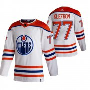 Wholesale Cheap Edmonton Oilers #77 Oscar Klefblom White Men's Adidas 2020-21 Reverse Retro Alternate NHL Jersey