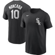 Wholesale Cheap Chicago White Sox #10 Yoan Moncada Nike Name & Number T-Shirt Black