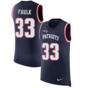 Wholesale Cheap Nike Patriots #33 Kevin Faulk Navy Blue Team Color Men's Stitched NFL Limited Rush Tank Top Jersey