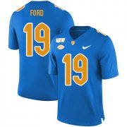 Wholesale Cheap Pittsburgh Panthers 19 Dontez Ford Blue 150th Anniversary Patch Nike College Football Jersey