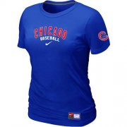 Wholesale Cheap Women's Chicago Cubs Nike Short Sleeve Practice MLB T-Shirt Blue