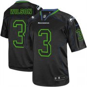 Wholesale Cheap Nike Seahawks #3 Russell Wilson Lights Out Black Men's Stitched NFL Elite Jersey