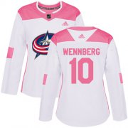 Wholesale Cheap Adidas Blue Jackets #10 Alexander Wennberg White/Pink Authentic Fashion Women's Stitched NHL Jersey