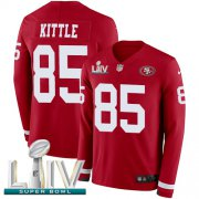 Wholesale Cheap Nike 49ers #85 George Kittle Red Super Bowl LIV 2020 Team Color Men's Stitched NFL Limited Therma Long Sleeve Jersey