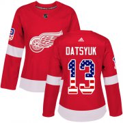 Wholesale Cheap Adidas Red Wings #13 Pavel Datsyuk Red Home Authentic USA Flag Women's Stitched NHL Jersey
