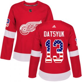 Wholesale Cheap Adidas Red Wings #13 Pavel Datsyuk Red Home Authentic USA Flag Women\'s Stitched NHL Jersey