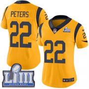 Wholesale Cheap Nike Rams #22 Marcus Peters Gold Super Bowl LIII Bound Women's Stitched NFL Limited Rush Jersey