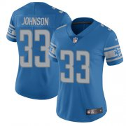 Wholesale Cheap Nike Lions #33 Kerryon Johnson Light Blue Team Color Women's Stitched NFL Vapor Untouchable Limited Jersey