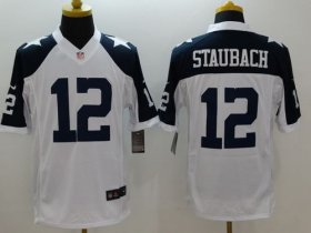 Wholesale Cheap Nike Cowboys #12 Roger Staubach White Thanksgiving Throwback Men\'s Stitched NFL Limited Jersey