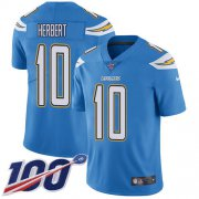 Wholesale Cheap Nike Chargers #10 Justin Herbert Electric Blue Alternate Men's Stitched NFL 100th Season Vapor Untouchable Limited Jersey