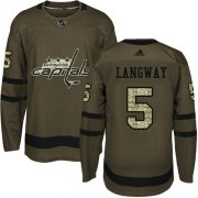 Wholesale Cheap Adidas Capitals #5 Rod Langway Green Salute to Service Stitched NHL Jersey
