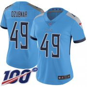 Wholesale Cheap Nike Titans #49 Nick Dzubnar Light Blue Alternate Women's Stitched NFL 100th Season Vapor Untouchable Limited Jersey