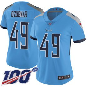 Wholesale Cheap Nike Titans #49 Nick Dzubnar Light Blue Alternate Women\'s Stitched NFL 100th Season Vapor Untouchable Limited Jersey
