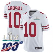 Wholesale Cheap Nike 49ers #10 Jimmy Garoppolo White Super Bowl LIV 2020 Men's Stitched NFL 100th Season Vapor Limited Jersey