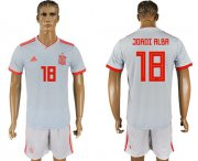Wholesale Cheap Spain #18 Jordi Alba Away Soccer Country Jersey