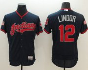 Wholesale Cheap Indians #12 Francisco Lindor Navy Blue Fashion Stars & Stripes Flexbase Authentic Stitched MLB Jersey