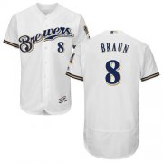 Wholesale Cheap Brewers #8 Ryan Braun White Flexbase Authentic Collection Stitched MLB Jersey