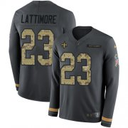 Wholesale Cheap Nike Saints #23 Marshon Lattimore Anthracite Salute to Service Youth Stitched NFL Limited Therma Long Sleeve Jersey