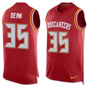 Wholesale Cheap Nike Buccaneers #35 Jamel Dean Red Team Color Men's Stitched NFL Limited Tank Top Jersey