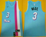 Wholesale Cheap Men's Miami Heat #3 Dwyane Wade NEW Light Blue 2020 Nike Swingman Stitched NBA Jersey