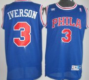 Wholesale Cheap Philadelphia Sixers #3 Allen Iverson Blue With PHILA Swingman Throwback Jersey