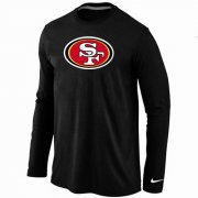 Wholesale Cheap Nike San Francisco 49ers Logo Long Sleeve T-Shirt Black