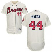 Wholesale Cheap Braves #44 Hank Aaron Cream Flexbase Authentic Collection Stitched MLB Jersey