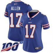 Wholesale Cheap Nike Bills #17 Josh Allen Royal Blue Team Color Women's Stitched NFL 100th Season Vapor Limited Jersey