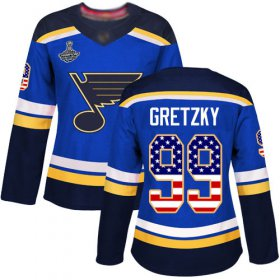 Wholesale Cheap Adidas Blues #99 Wayne Gretzky Blue Home Authentic USA Flag Stanley Cup Champions Women\'s Stitched NHL Jersey