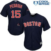 Wholesale Cheap Red Sox #15 Dustin Pedroia Navy Blue New Cool Base 2018 World Series Champions Stitched MLB Jersey