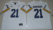 Wholesale Cheap Men's Michigan Wolverines #21 Desmond Howard White Stitched NCAA Brand Jordan College Football Jersey
