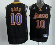 Wholesale Cheap Los Angeles Lakers #10 Steve Nash Revolution 30 Swingman Black With Purple Jersey