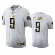 Wholesale Cheap Detroit Lions #9 Matthew Stafford Men's Nike White Golden Edition Vapor Limited NFL 100 Jersey