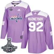 Wholesale Cheap Adidas Capitals #92 Evgeny Kuznetsov Purple Authentic Fights Cancer Stanley Cup Final Champions Stitched Youth NHL Jersey